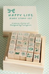 Kawaii Wooden Stamps Set - Happy Life Diary