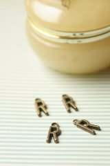 FREE SHIPPING - Antique Style Bronze Charms - Alphabet R