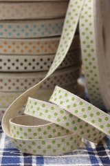 FREE SHIPPING - Cotton Linen Blended Ribbon - Polka Dots (1.5cm x 1 yard)