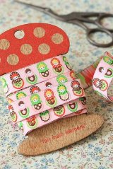 FREE SHIPPING - Woven Jacquard Trim Ribbon - Russian Doll Matryoshka