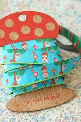 FREE SHIPPING - Woven Jacquard Trim Ribbon - Little Red Hood Riding Blue
