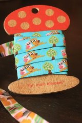 FREE SHIPPING - Woven Jacquard Trim Ribbon - Twin Owl