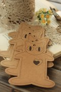 ECO Brown Kraft Goods - Hard Craft Paper Board Thread Spool Little Cats - 10p