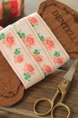 FREE SHIPPING - Woven Jacquard Trim Ribbon - Pink Flowers