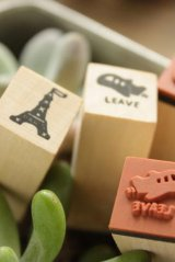 Super Cute Wooden Rubber Stamp Set with Ink Pad - See Paris