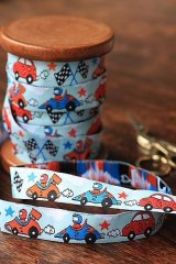 FREE SHIPPING - Woven Jacquard Trim Ribbon - Racing Car