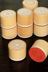 Retro Round Lace Pattern Wooden Rubber Stamp