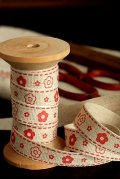 Linen Cotton Blended Ribbon - Little Flowers (1.5cm x 1 yard)