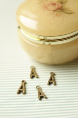 FREE SHIPPING - Antique Style Bronze Charms - Alphabet A
