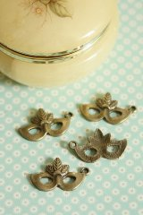 Antique Style Masquerade Bronze Charms - Little Mask