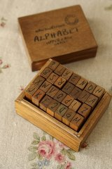 Antique Style Wood Stamps Set - Alphabet - Uppercase Letters