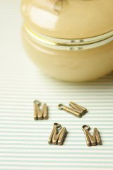 FREE SHIPPING - Antique Style Bronze Charms - Alphabet M