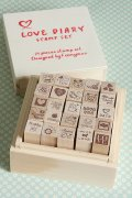 Kawaii Wooden Stamps Set - Love Diary