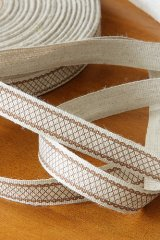 Linen Cotton Blended Ribbon - Brown Lace Pattern (1 yard)
