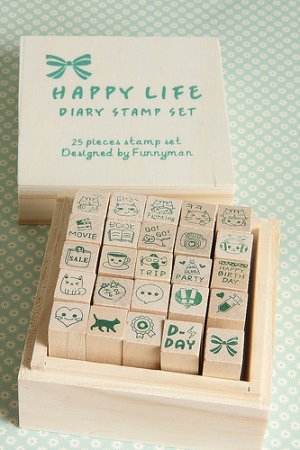 Photo1: Kawaii Wooden Stamps Set - Happy Life Diary