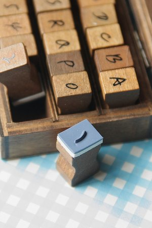 Photo3: Antique Style Wood Stamps Set - Hand Drawing Upper Alphabet