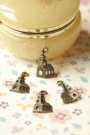 Photo1: SALE-Antique Style Bronze Charms - Little Church