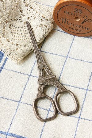 Photo1: Antique Style Craft Scissors - Eiffel Tower