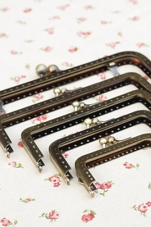 "Photo5: Antique Brass Purse Frame with Hoops - Length 15.5cm (6DIY Purse Frame"")"""