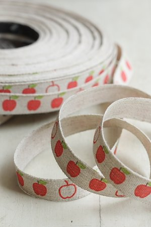 Photo1: kawaii Cotton Linen Blended Ribbon - Apple (1.5cm x 1 yard)