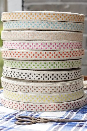 Photo2: Cotton Linen Blended Ribbon - Polka Dots (1.5cm x 1 yard)