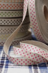 Cotton Linen Blended Ribbon - Polka Dots (1.5cm x 1 yard)