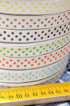 Photo3: Cotton Linen Blended Ribbon - Polka Dots (1.5cm x 1 yard)