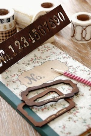 Photo3: price down - Antique Style Wood Stencil ECO Template - Number