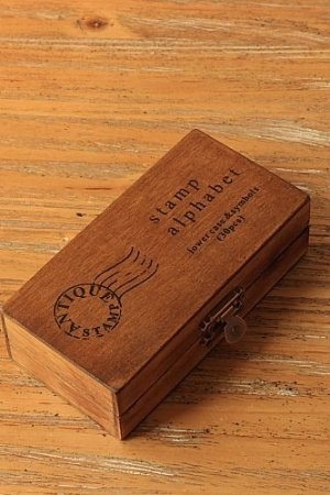 Photo1: Antique Style Wood Stamps Set - Lower and Symbols
