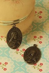 SALE - Antique Style Bronze Charms - Sancta Teresia A Jesu Infante