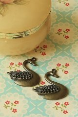 SALE- Antique Style Bronze Charms - Swan