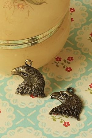 Photo1: SALE-Antique Style Bronze Charms - American Eagle