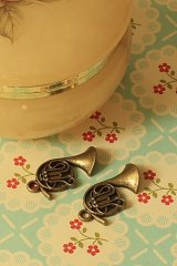 SALE - Antique Style Bronze Charms - Little Horn