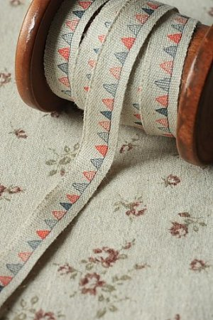 Photo1: Cotton Linen Blended Ribbon - Colorful Flags (1.5cm x 1 yard)