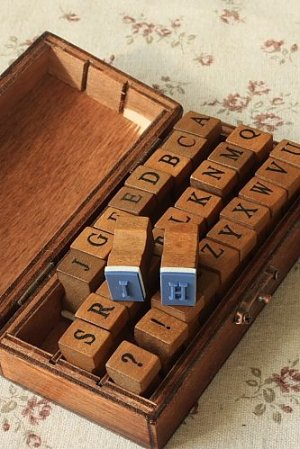 Photo3: Antique Style Wood Stamps Set - Upper and Symbols