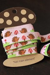 Woven Jacquard Trim Ribbon - Pink Hedgehog