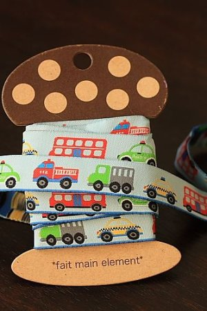 Photo1: 1.6cm x 5 Yards - Woven Jacquard Trim Ribbon - Little Cars