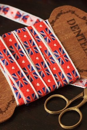Photo1: Woven Jacquard Trim Ribbon - National Flags