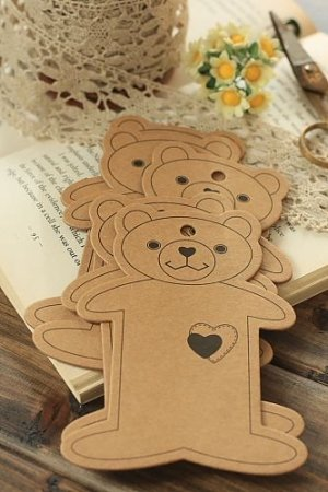 Photo1: ECO Brown Kraft Goods - Hard Craft Paper Board Thread Spool Little Bear - 10p