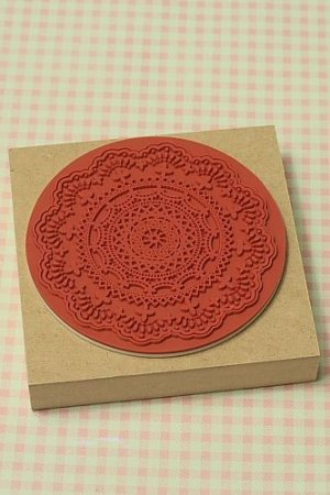 Photo2: Super Cute Wooden Rubber Stamp - Lace L size