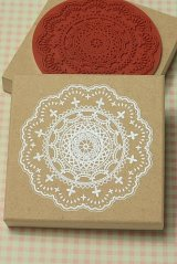 Super Cute Wooden Rubber Stamp - Lace L size