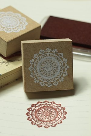 Photo1: Super Cute Wooden Rubber Stamp - Lace 02