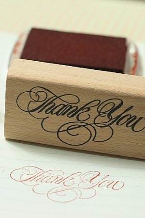 Photo1: Super Cute Wooden Rubber Stamp - Thank You
