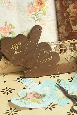 Photo1: Antique Style ECO Gift Box Template - Hearts