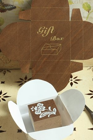 Photo2: Antique Style ECO Gift Box Template - Square