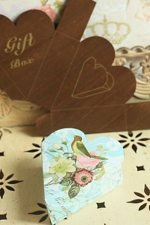 Photo2: Antique Style ECO Gift Box Template - Hearts