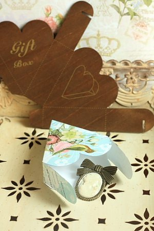 Photo3: Antique Style ECO Gift Box Template - Hearts