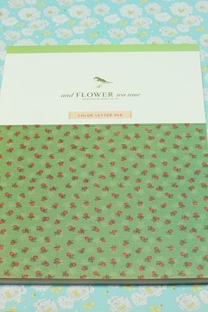 Photo1: Kawaii Color Letter Pad - Flower Tea Time (56 sheets)