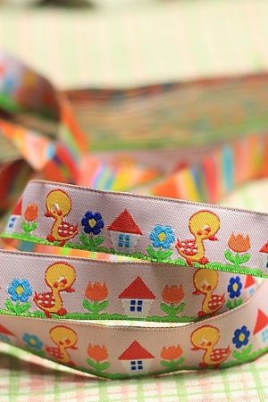 Photo2: Woven Jacquard Trim Ribbon - Little Ducks