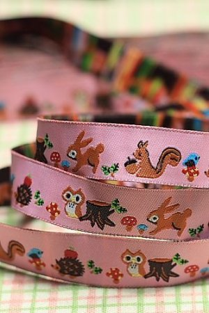 Photo2: Woven Jacquard Trim Ribbon - Pink Forest